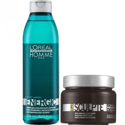 L'Oréal Professionnel Komplekts: Homme Energic Šampūns un pasta matu (250+150ml)