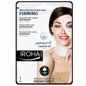 IROHA Cotton Face and Neck Mask Pearl Maska sejai un kaklam ar pērļu pulveri un hialuronskābi 23ml