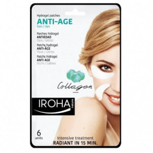 IROHA Eye Pads Antiage collagen Eye & Lips Hidrogēla maska ādai ap acīm un lūpām 6gab